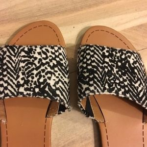 DV Dolce Vita B&W Pony Hair Slip On Flat Sandals